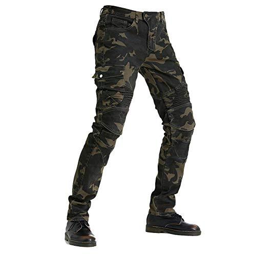 XIONGGG Herren Motorrad-Reithose, Denim-Jeans, Schutzpolster, Ausrüstung mit Knie- und Hüftpolstern, Camouflage, XXXL