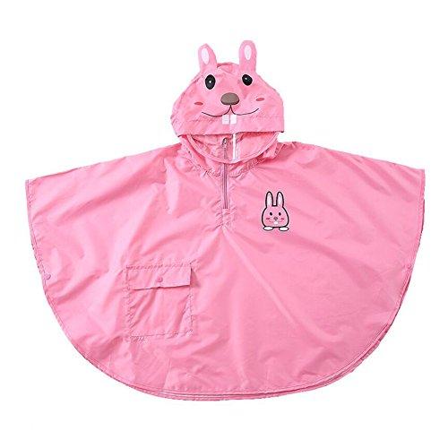 Bambini Bambino Bambini Impermeabile Poncho antivento Cape leggero e traspirante con 3D Cartoon Animal Pattern Pink Rabbit/M