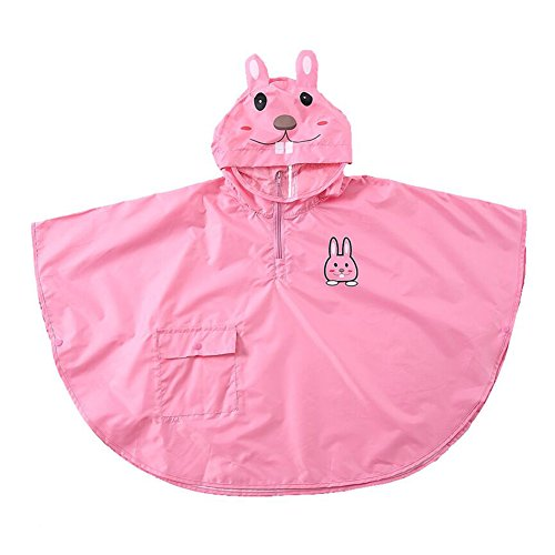 Bambini Bambino Bambini Impermeabile Poncho antivento Cape leggero e traspirante con 3D Cartoon Animal Pattern Pink Rabbit/M