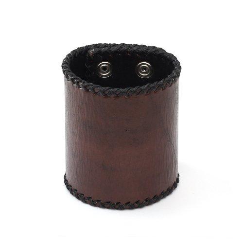 Pulsera Idin–Unisex Marrón Pulsera de piel orgánico con cera Cord Edge Ideal para hombres y mujeres
