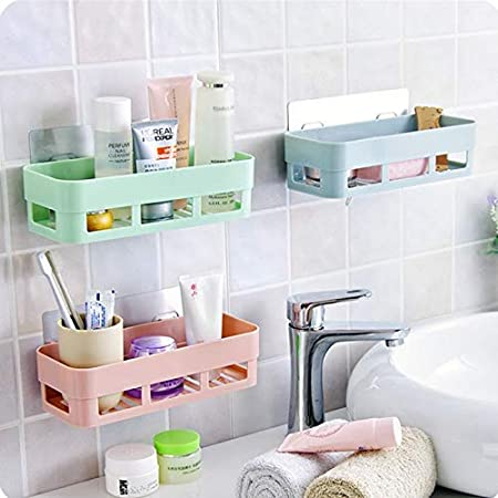 HOME CUBE Multipurpose Strong Magic Sticker Matte Plastic Wall Holder Storage Box Shelf Shower Rack for Kitchen Bathroom- Random Color - 2 Pieces