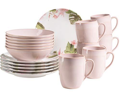 MÄSER 931925 Ossia Aguarela - Vajilla para 6 personas (cerámica, 18 piezas, incluye plato, cuenco y taza de café, tamaño grande), diseño vintage