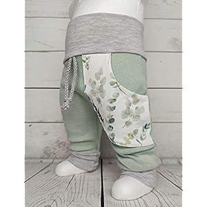Baby Pumphose mit Tasche Strick Gr. 50-104 Eukalyptus mint Handmade Puschel-Design