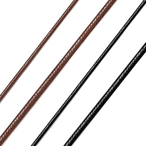 Richsteel 2mm Unisex Collar de Cordones Trenzados Encerado Negro 40cm Cordón para Colgantes con Buen Cierre Acero Inoxidable