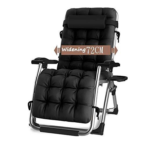 KEOA Extrabreiter Liegestuhl für schwere Leute Sonnenliege Klappbar Terrasse Liegestühle Gartenstuhl Freien Relaxsessel Unterstützt 200 kg Vielseitig- Schwarz
