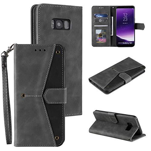EYZUTAK Lederhülle für Samsung Galaxy S8 Plus, Magnetverschluss Premium PU weiche innen TPU Flip Hülle Schutzhülle 3 Kartenfache Brieftasche Standfuntion Mode Retro Kontrastfarbe Klapphülle - Grau