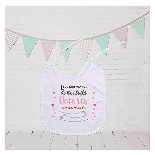 Regalo personalizado para un bebé: babero para niño o niña Abrazos de mi abuela o Abrazos de mi abuelo personalizado con nombre …