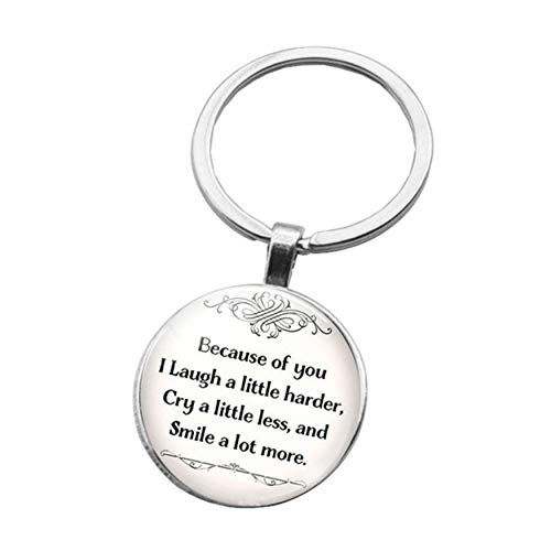 FWQW Friendship Keychain Keyring Because of You I Laugh A Little Harder Cry A Little Less and Smile A Lot More Best Friends Keychain Friendship Gifts Birthday Gift Graduation Keychain