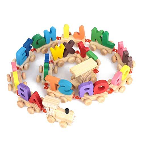 Doe-het-zelf houten magnetische trek, puzzelspel 28 letters dragers trein houten puzzel educatief speelgoed Alphabet trek-letters locomotief lereniteit van de kinderen gepersonaliseerd alles Alphabet trekpuzzelspel