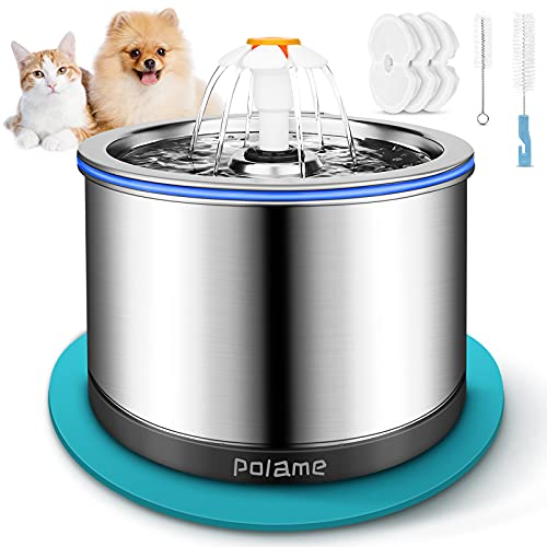 Cat Water Fountain Stainless Steel, 84oz/2.5L Pet...