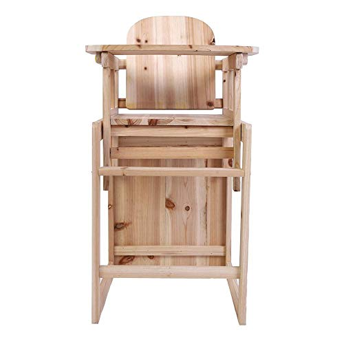 Silla alta de bebé, silla de alimentación y mesa Set de trona de madera desmontable para niños pequeños con bandeja ajustable para bebés de 4 años