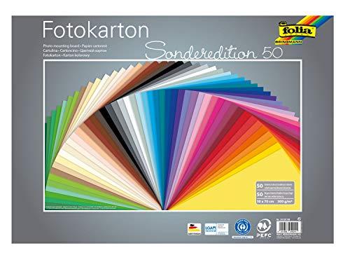 folia 61/50 99 - Fotokarton Mix 50 x 70 cm, 300 g/qm, 50 Bogen sortiert in 50 Farben - ideale Grundlage für zahlreiche Bastelideen