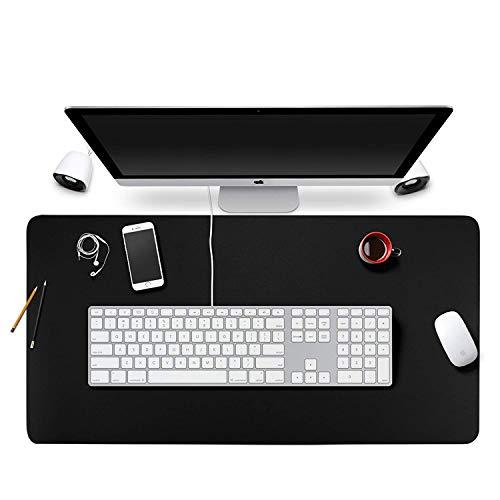 Alfombra de ratón, de piel sintética, 80 x 40 cm, antideslizante, protección para escritura, mate, ultrafina, perfecta para escritorio, escritorio, escritorio y casa Negro 90*40cm