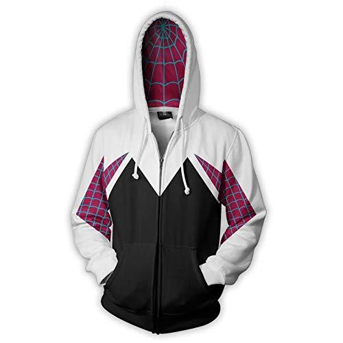 Suter con Capucha de Spiderman para nios Gwen Spider Cosplay Sudadera Frontal Impresa en 3D Chaqueta de Anime suter de Manga Larga de Gran tamao para Hombres- XL
