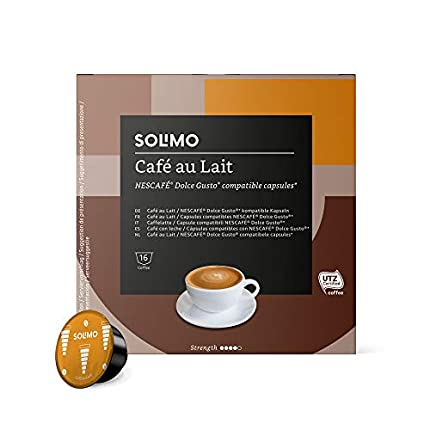 Marca Amazon - SolimoDolce Gusto CAFE' AU LAIT - Certificada UTZ - 96 Cápsulas (6 Paquetes x 16)