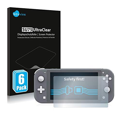 Savvies 6X Schutzfolie kompatibel mit Nintendo Switch Lite Displayschutz-Folie Ultra-transparent