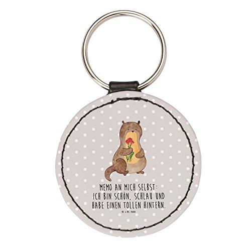 Mr. & Mrs. Panda Rund Schlüsselanhänger Otter Blumenstrauß - Otter Seeotter See Otter Schlüsselanhänger, Anhänger, Taschenanhänger, Glücksbringer, Schlüsselband