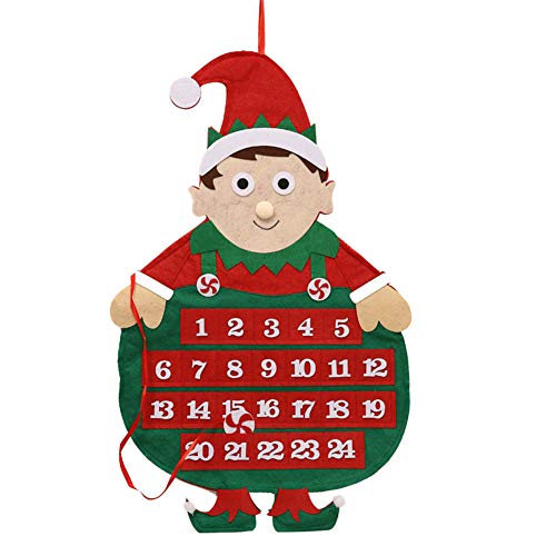 YUANZHU Cuenta Regresiva para El Calendario De Adviento De Navidad con Material De Fieltro con Bolsillos, Cuenta Regresiva De 24 Días Colgar En La Puerta De La Pared para Niños,2