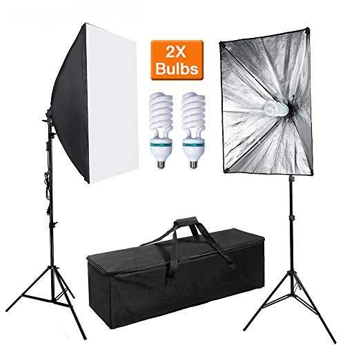 QWERTOUY 2 set 50 x 70 cm softbox diffuser fotostudio light fotouitrusting E27 lamphouder met statief 2 m