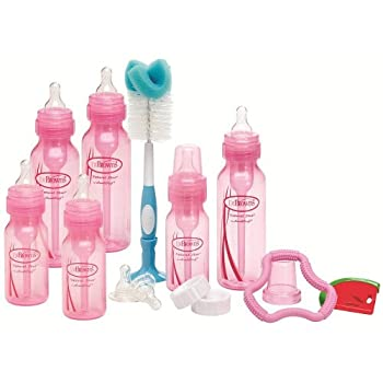 Dr Browns Bottles Pink Set with Level 2 and Level 3 Nipples Bottle Brush