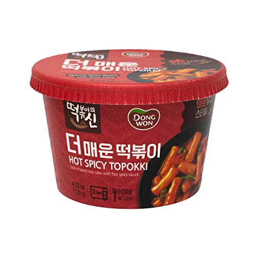 Dongwon Topokki Korean Stick-shaped Rice Cake with Spicy Sauce, 4.23 Ounce (Pack of 12) (Hot Spicy)