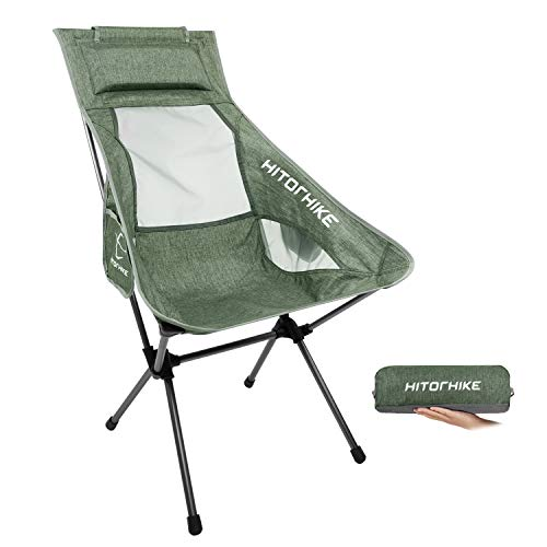 Hitorhike Camping Chair with Nylon Mesh and Comfortable Headrest Ultralight High Back Folding Camp Chair Portable Compact for...