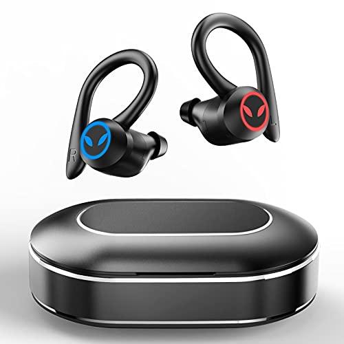 Auriculares Inalambricos Deporte, Auriculares Bluetooth 5.1 Deportivos IPX7 Impermeable CVC8.0 Cancelación de Ruido Auriculares Running con Mic y Caja de Carga, Cascos Inalambricos In Ear Gimnasio