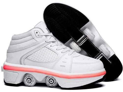 HANHJ Zapatos con Ruedas Niños LED 2 En 1 Quad Roller Skate Zapatos con Ruedas Calzado para Correr Zapatillas 7 Ruedas Que Cambian Color Gimnasia Calzado,Weißes High-Top-EU41/UK7
