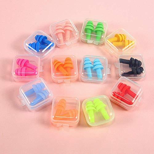 Ohrstöpsel Silikon,12 Paar Gehörschutz Ohrstöpselset mit Aufbewahrungsbox Flexible Gehörschutzstöpsel Wasserdichte Ohrstöpsel für Schwimmen Reisen Schlafen