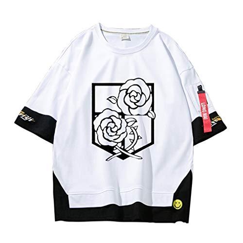 VERROL Maglietta Attack on Titan Uomo Donna, Anime Shingeki No Kyojin Scout Regiment Levi Ackerman Cosplay Rop T-Shirt, Ragazza Casual Maglietta Stampa a Manica Corta Camicetta Tops