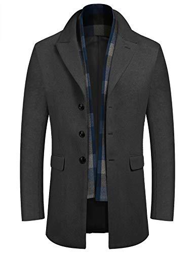 COOFANDY Men's Wool Blend Car Coat Gentleman Winter Business Jacket Wool Short Trench Coat with Detachable Scarf (Grey S)
