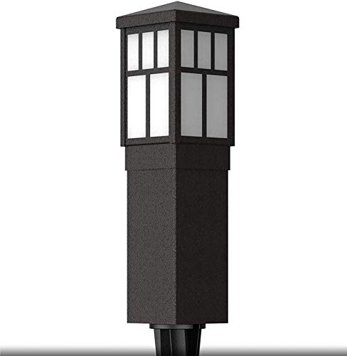 Malibu Mission Collection LED Bollard Pathway Light LED Low Voltage Landscape Lighting Square Bollard Pathway Decoration Garden Stake Light for Outdoor Outside Garden Driveway Patio Yard Pathway 8419-