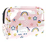 Bolsa de maquillaje portátil con cremallera bolsa de aseo de viaje para las mujeres práctico almacenamiento cosmético bolsa estrella unicornio arco iris