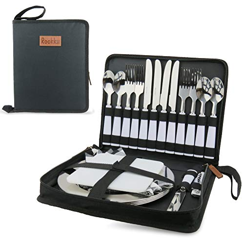 Camping Silverware Set with Case, 23 Pcs Camping Mess Kit with Stainless Steel Plates, Picnic Set for 4, Travel Silverware Set, Camping Utensils for Eating, Portable Cutlery Set (4 People, Black)