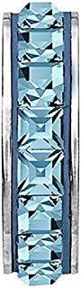 SWAROVSKI pave Stopper Bead Aquamarine Color Stainless Steel Becharmed 15 mm-3.30 mm