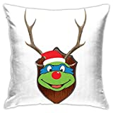 109 TMNT Leonardo Christmas Antler Head Pillowcase, Double-Sided Printing, Hidden Zip Pillowcase, Beautiful Printed Pattern Pillowcase 18inch18inch