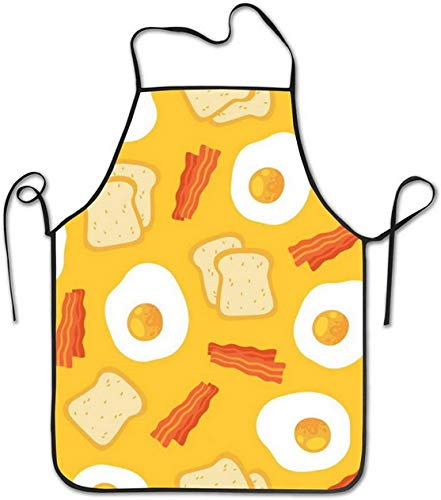 Breakfast Eggs Bacon Bib Aprons Women Men Professional Chef Aprons Waterproof Waiter Hostess Apron for Wedding Cooking