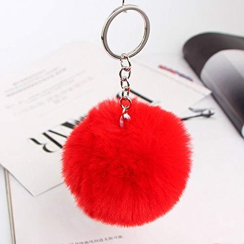 Encantador Llavero De Pompón Esponjoso Llavero De Coche Cadenas De Color Plateado Llavero Moda Mujer Joyería Regalo-Rojo