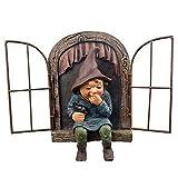 Gartendeko, Gartendeko Figuren, Gartenzwerg, Gartenzwerg Lustig Kichert auf der Fensterbank, Kann als Geschenk oder Dekoration Verwendet Werden, um Menschen Glücklich zu Machen