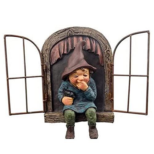 Gartendeko Figuren, Gartenzwerge, Gartenzwerg Lustig Kichert auf der Fensterbank, Kann als Geschenk oder Dekoration Verwendet Werden, um Menschen Glücklich zu Machen