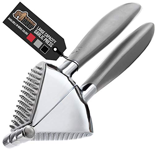 Gorilla Grip Garlic Press, Heavy Duty Presser, Soft Comfortable Easy Squeeze Handle, Perfect for the Dishwasher, Built-In Cleaner, Large Chamber Easily Crushes, Minces Food, Uniform Minced Pieces Gray