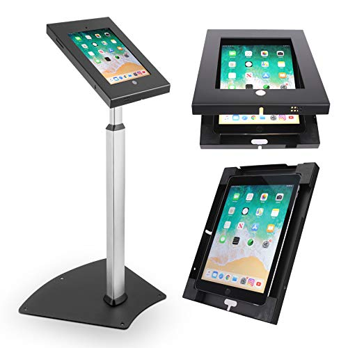 Pyle PSPADLK55 Tamper-Proof Anti-Theft iPad Kiosk Safe Security Public Floor Stand, Holder, Public Display Case with Adjustable Height & Cable Management for iPads 2/3/4/Air , Black