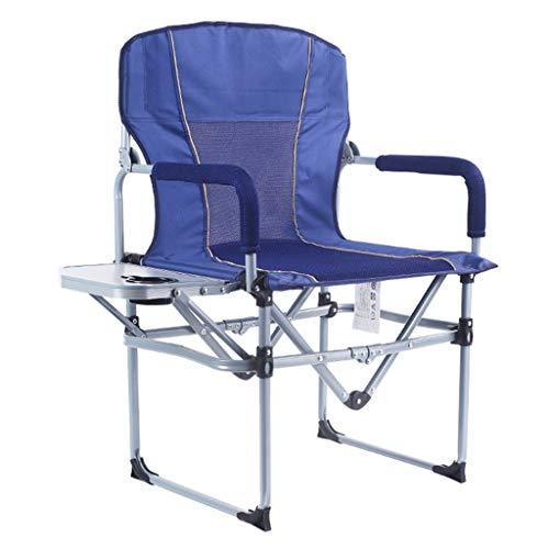 Faltender Außenstuhl, Tragbarer Freizeit Camping Angeln Strand Edelstahlstuhl, Stahlrohrhalterung Oxford Tuch 240 Pfund (Color : Blue)