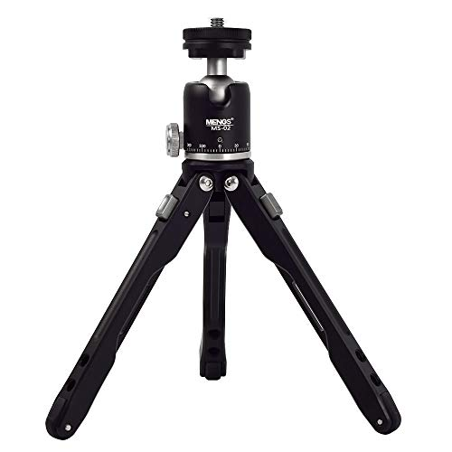 MENGS MS-02 Kompakt Desktop Aluminumlegierung Mini-Stativ mit BH-19 360 ° Panorama Kugelkopf für Canon Nikon Pentax Panasonic Fujifilm und Kodak Spiegelreflexkamera Last bis zu 10kg