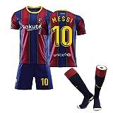 大人用 メッシ ユニフォーム 上下セット FCバルセロナ ホーム 背番号10 リオネル・アンドレス・メッシ レプリカ ユニフォーム (Size : S)