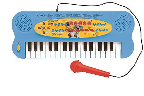 Lexibook Disney Toy Story 4-Teclado electrónico con Woody & Buzz, piano de 32 teclas, Micrófono para cantar, instrumento a partir de 3 años, Azul/Amarillo K703TS, color