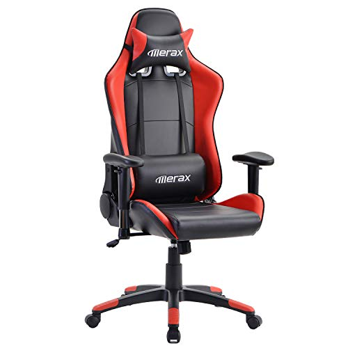 Merax Gaming Chair Ergonomic Racing Gamer Chair Desk Chair with High Back Rest and Rocker Function Height-Adjustable B Ã1ro Swivel Chair Made of Faux Leather red