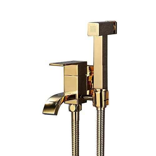 Bidé Handheld pulverizador for WC, Titanio pañal de Tela pulverizador Kit de Oro Brass Bidé Conjunto pulverizador montado en la Pared Bidé pulverizador Kit con la Manguera de la Ducha 1, 5 M, for la