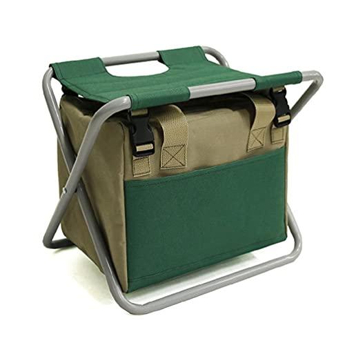 Juego de herramientas de jardín multiusos, organizador de taburete plegable con bolsa...