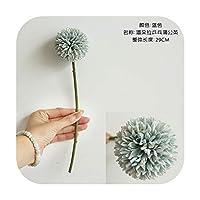 pump-kawayi 結婚披露宴や家の装飾のための1個造花ブーケタンポポシングルヘッドソーンボールシミュレーション装飾-Blue